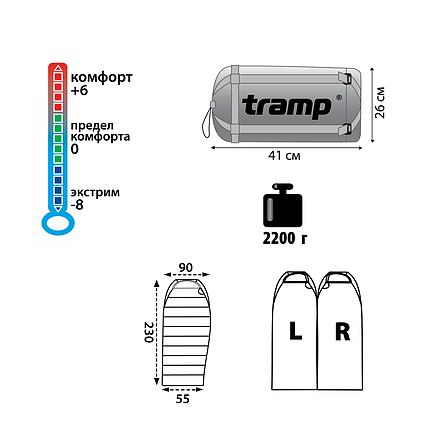 Туристический спальный мешок Tramp Siberia 5000 XL индиго/черный L, фото 2