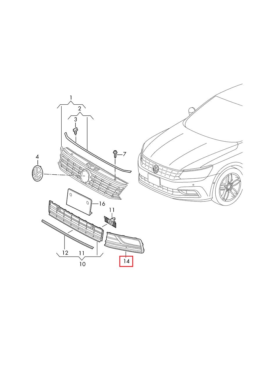 "Решётка (заглушка) п/туманки правая -"" VW Passat B8 USA 2015-2019     561854662GRYP"