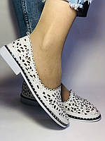 Женские туфли -балетки из натуральной кожи с крупной перфорацией.Турция 38. 39 Супер комфорт.Vellena, фото 6