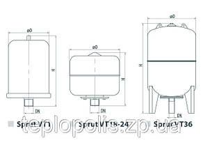 Расширительный компенсационный бак для отопления Sprut VT/12L, фото 2