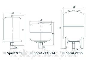 Расширительный компенсационный бак для отопления Sprut VT/5L, фото 2