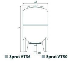 Расширительный компенсационный бак для отопления Sprut VT 50L, фото 2