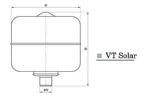 """Расширительный бак для гелиосистем и систем отопления """"Насосы +"""" VT 50 Solar, фото 2"""
