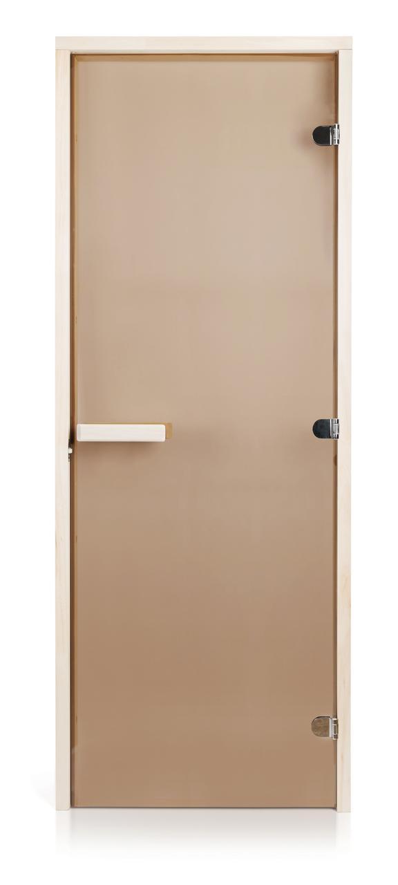 Стеклянная дверь для бани и сауны GREUS Classic прозрачная бронза 80/200 липа