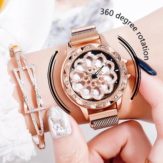 Женские часы с вращающимся циферблатом