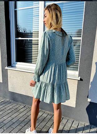 Літній шифонова сукня із завищеною талією і ніжними рюшами на грудях,2 кольори, Р-р S, M Код 375Т, фото 2