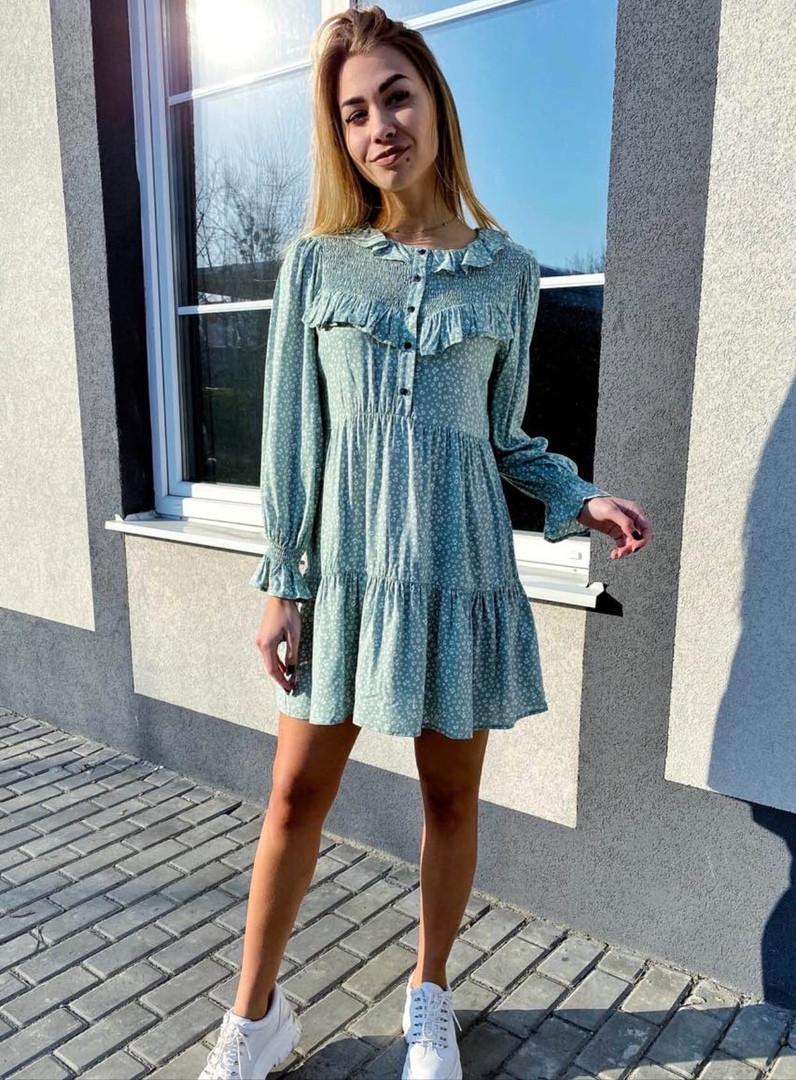 Літній шифонова сукня із завищеною талією і ніжними рюшами на грудях,2 кольори, Р-р S, M Код 375Т