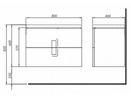 Тумба під умивальник Kolо TWINS / 89554000 / 80 cм / графіт, фото 2