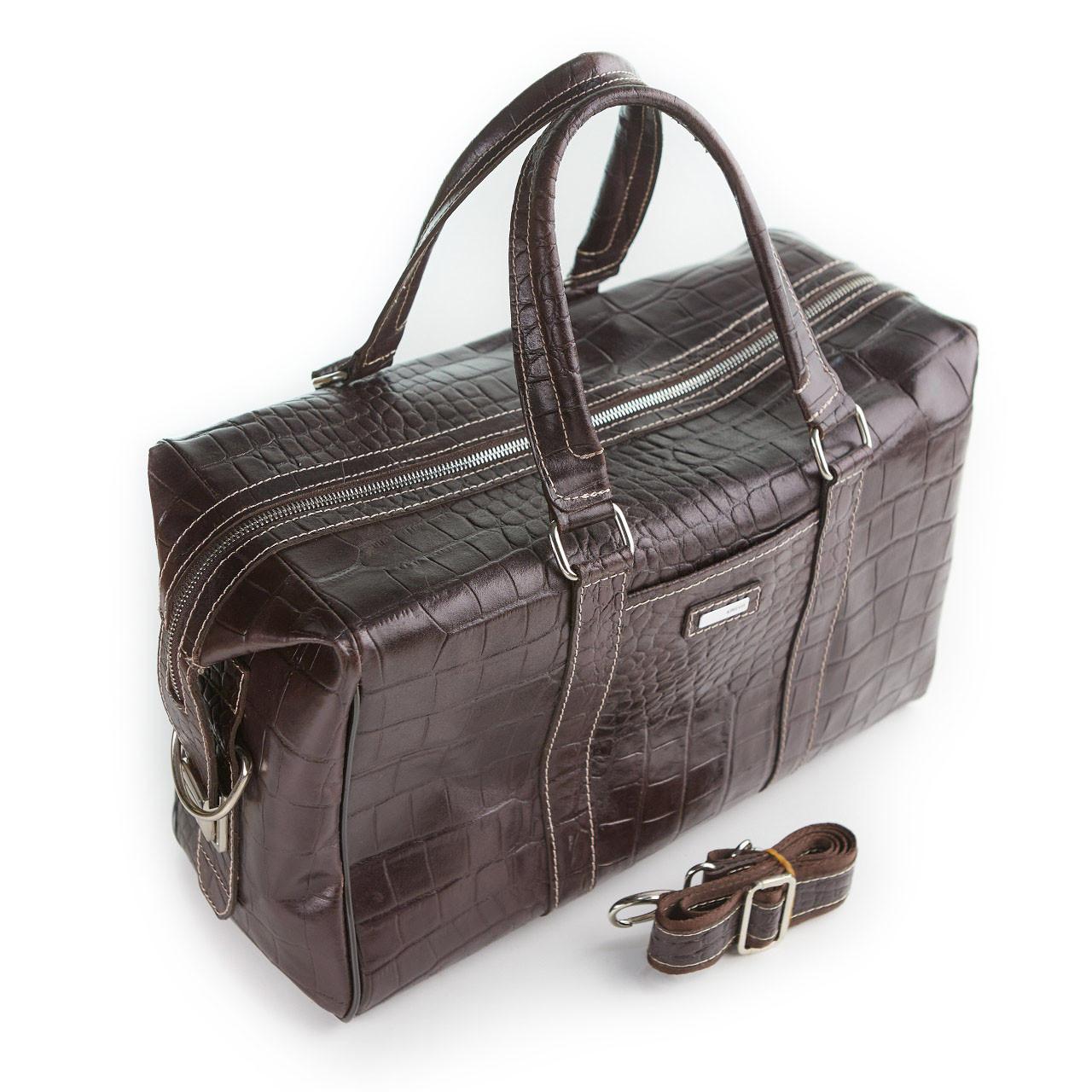 Сумка дорожная саквояж KARYA 8500-57 кожаный темно-коричневый
