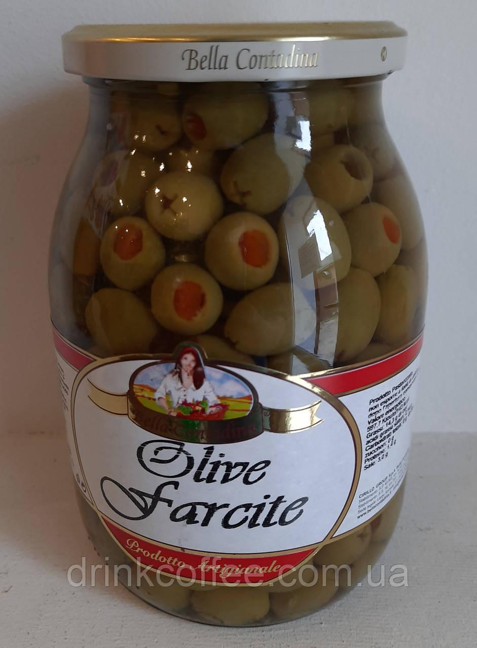Оливки Olive Farcite Bella Contadina фаршировані перцем Італія 1062ml