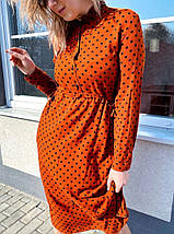 Летнее прямое платье  в горошек с пояском, миди, 5цветов.,Р-р.38(M), 40(L), 42(XL), 44(XXL)  Код 370Т, фото 3