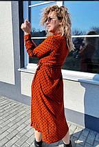 Летнее прямое платье  в горошек с пояском, миди, 5цветов.,Р-р.38(M), 40(L), 42(XL), 44(XXL)  Код 370Т, фото 2