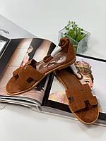 Модні замшеві сандалі Hermes (репліка), фото 1