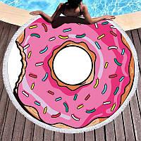 Пляжное полотенце / покрывало Towel Beach Holiday NEW круглое с бахрамой  150x150 см Розовый пончик, фото 1
