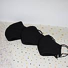 Маска захисна чорна тришарова багаторазова бавовняна, фото 5