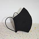 Маска захисна чорна тришарова багаторазова бавовняна, фото 4