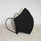 Маска защитная черная трехслойная многоразовая хлопковая, фото 4
