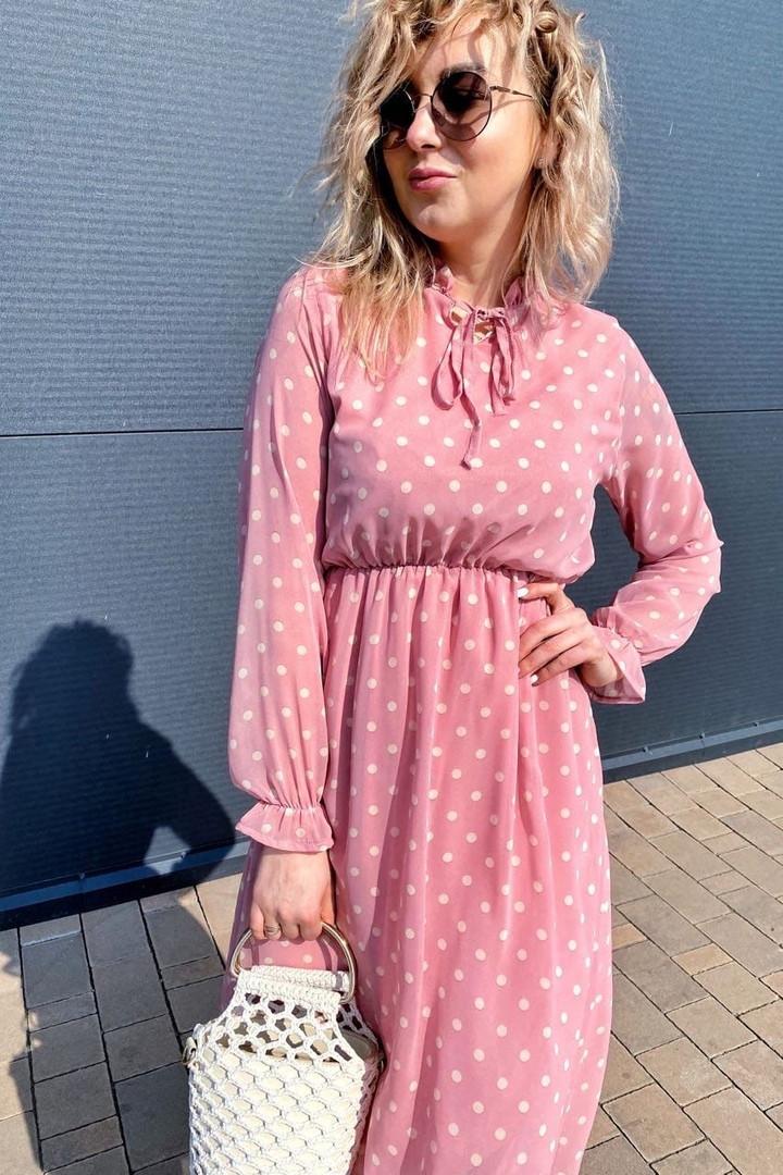 Летнее розовое, шифоновое платье в горошек на завязках .,Р-р.38(М), 40( L), 42(XL), 44(2XL), 46(3XL) Код 371Т