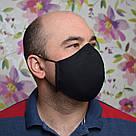 Маска захисна чорна тришарова багаторазова бавовняна, фото 3