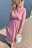 Летнее розовое, шифоновое платье в горошек на завязках .,Р-р.38(М), 40( L), 42(XL), 44(2XL), 46(3XL) Код 371Т, фото 3