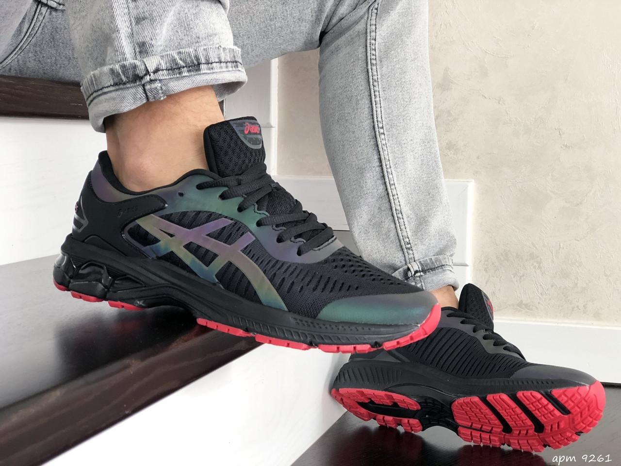 Мужские кроссовки Asics Gel-Kayano 25,сетка,черные с красным
