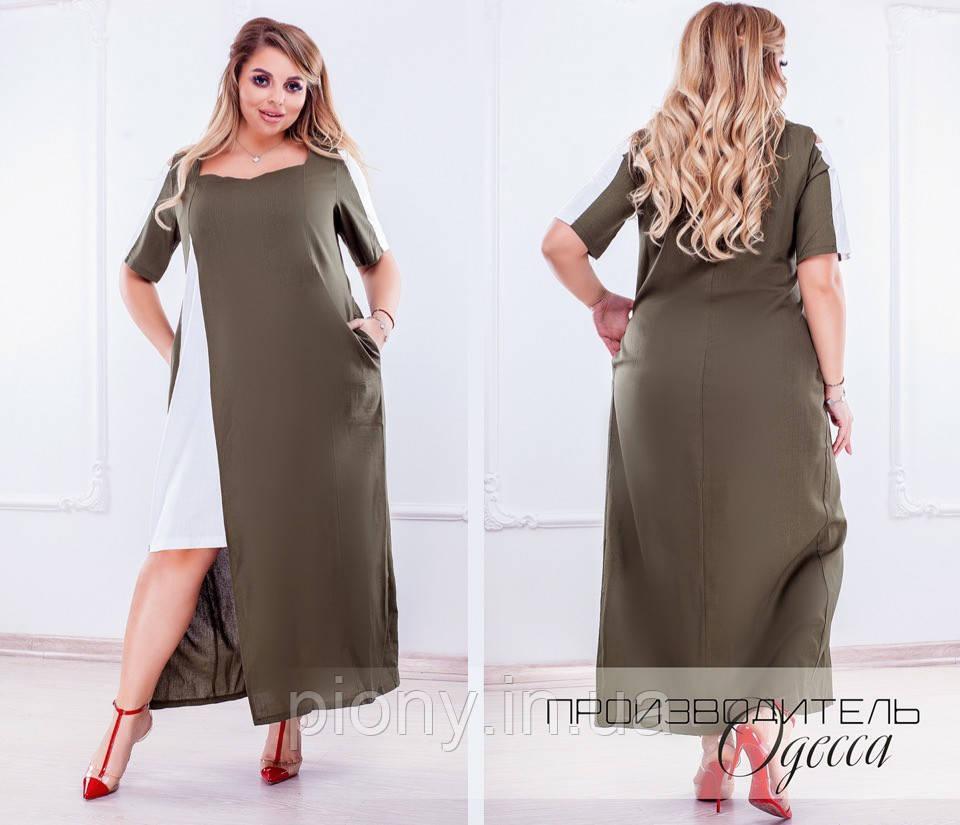 Женское платье c карманами Батал