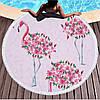 Пляжний рушник / покривало Towel Beach Holiday NEW кругле з бахромою 150x150 см Квітковий Фламінго