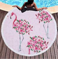 Пляжний рушник / покривало Towel Beach Holiday NEW кругле з бахромою 150x150 см Квітковий Фламінго, фото 1
