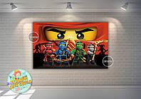 """Плакат 120х75см. в стиле """"Ниндзяго""""красный фото на детский День рождения  -"""