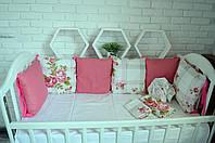 """Детские бортики в кроватку """"Роза"""",цветастые бортики в кроватку,защита в кроватку,бампер"""