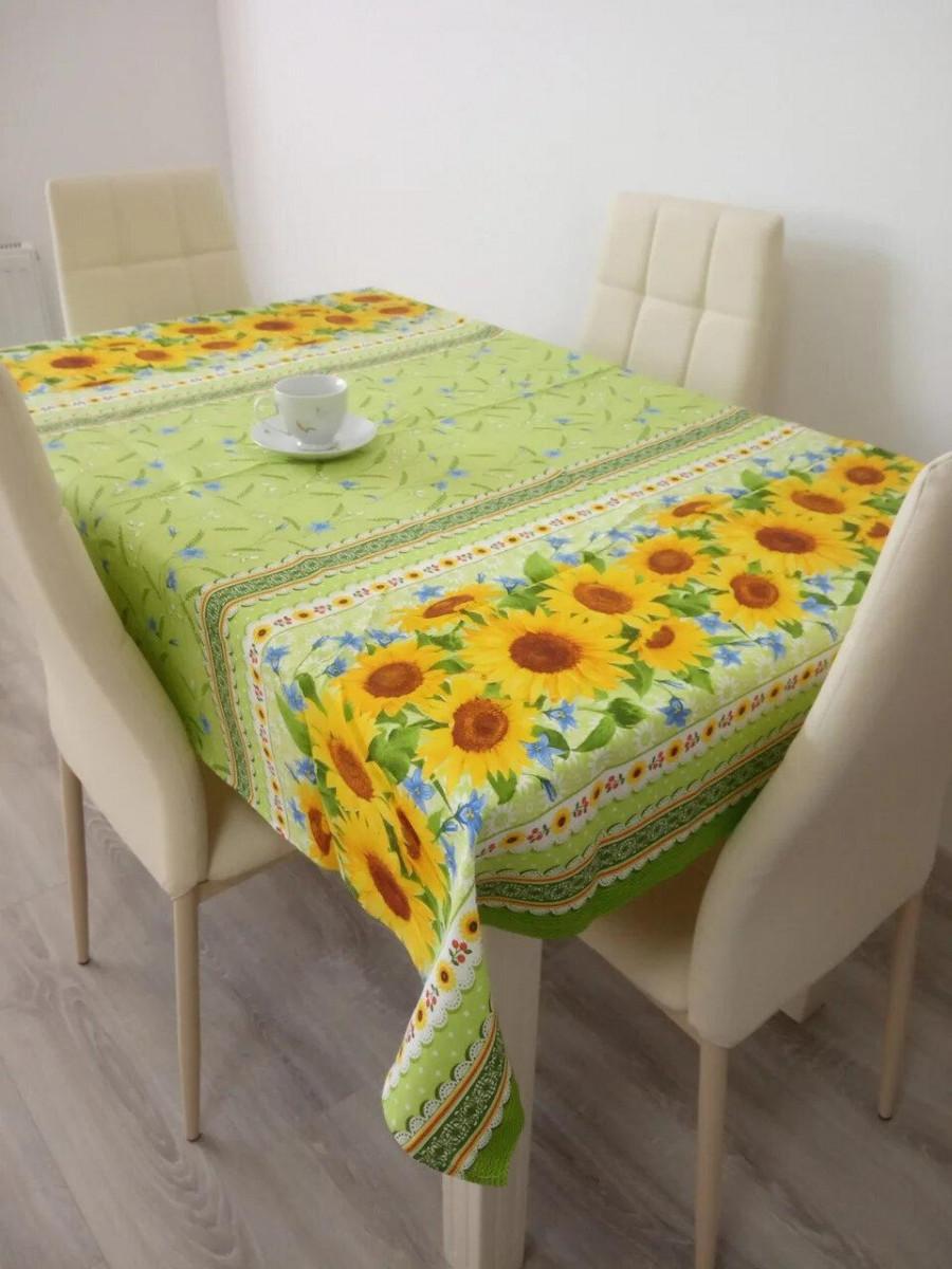 Скатерть столовая 110х150 см из рогожки Подсолнух на зеленом TRA-1-304