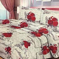 """""""Красные розы"""" Постельное белье 3D эффект евро размер, нав-ки 70/70"""