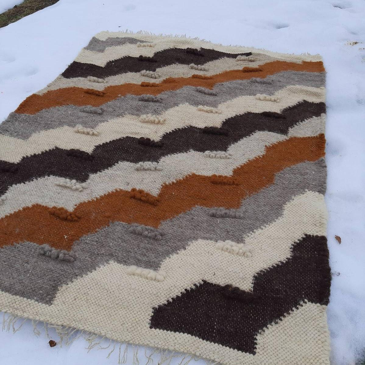 Ліжник-килим, доріжка з натуральної овечої шерсті  Розмір 150*220 см