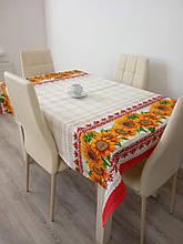 Скатерть столовая 220х150 см из рогожки Подсолнух на красном TRA-3-305