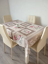 Скатерть столовая 220х150 см из рогожки Прованс - чашки TRA-3-323
