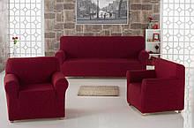 Чехол на диван и два кресла Жаккард Milano Karna Турция 50031 Бордовый