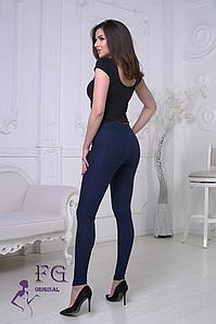 Модные женские лосины плотные однотонные темно-синие