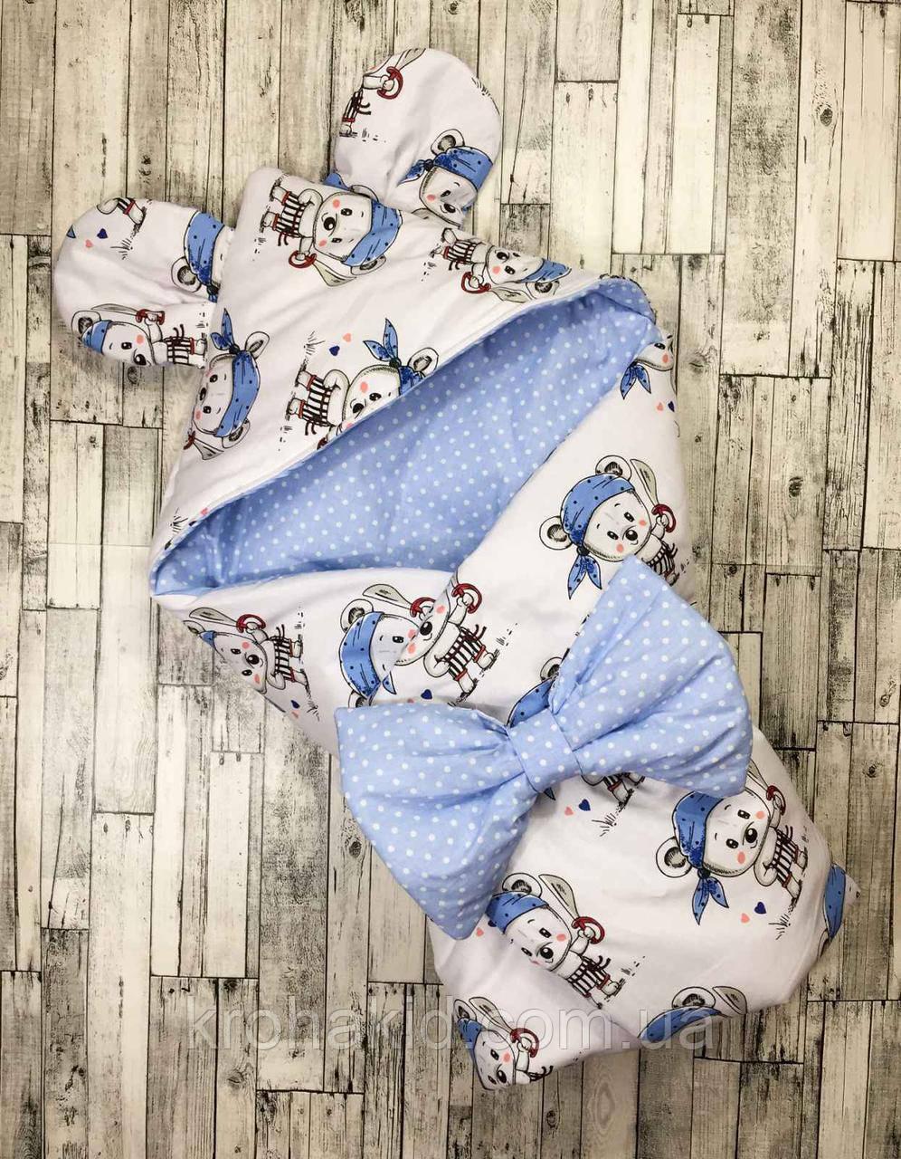 """Детский летний конверт на выписку """"Ушки"""", конверт-одеяло, нарядный конверт на выписку (Лето)"""