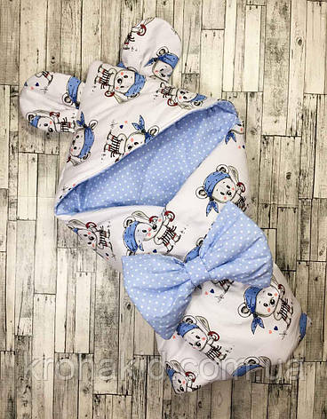 """Детский летний конверт на выписку """"Ушки"""", конверт-одеяло, нарядный конверт на выписку (Лето), фото 2"""
