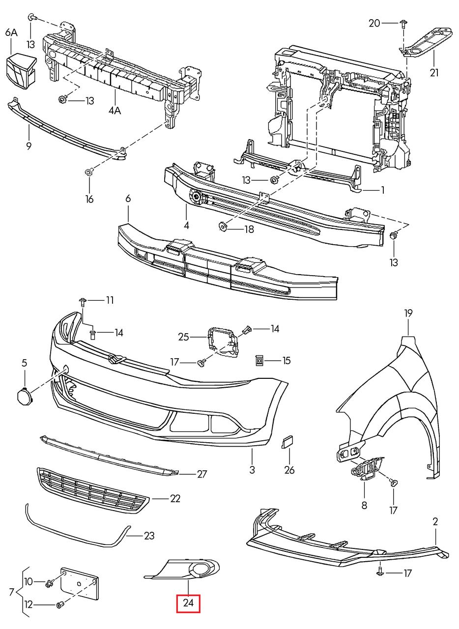 Решётка п/туманки правая VW Jetta 2011-2015 USA
