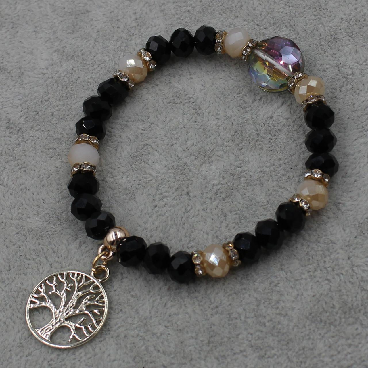 Браслет из бусин черного цвета   на резинки d-8 мм с подвеской Дерево Жизни