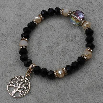 Браслет из бусин черного цвета   на резинки d-8 мм с подвеской Дерево Жизни, фото 2