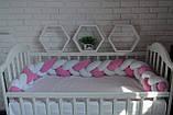"""Детские бортики в кроватку """" Косичка """",розовая косичка бортик в кроватку,защита розовая в кроватку, фото 3"""