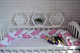 """Детские бортики в кроватку """" Косичка """",розовая косичка бортик в кроватку,защита розовая в кроватку, фото 6"""