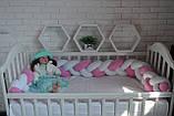 """Детские бортики в кроватку """" Косичка """",розовая косичка бортик в кроватку,защита розовая в кроватку, фото 5"""
