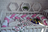 """Детские бортики в кроватку """" Косичка """",розовая косичка бортик в кроватку,защита розовая в кроватку, фото 8"""
