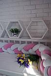 """Детские бортики в кроватку """" Косичка """",розовая косичка бортик в кроватку,защита розовая в кроватку, фото 7"""