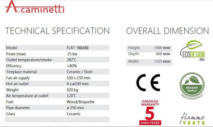 Камінна топка A. caminetti Flat 150x50 гільйотина, фото 2