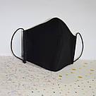 Маска защитная черная трехслойная многоразовая хлопковая женская, фото 4