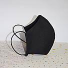 Маска защитная черная трехслойная многоразовая хлопковая женская, фото 5